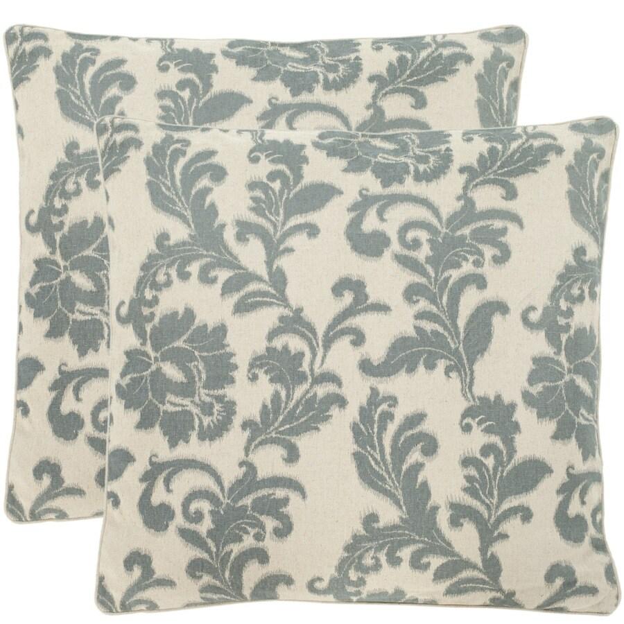 Safavieh Aubrey 2-Piece 18-in W x 18-in L Steel/Blue Indoor Decorative Pillow