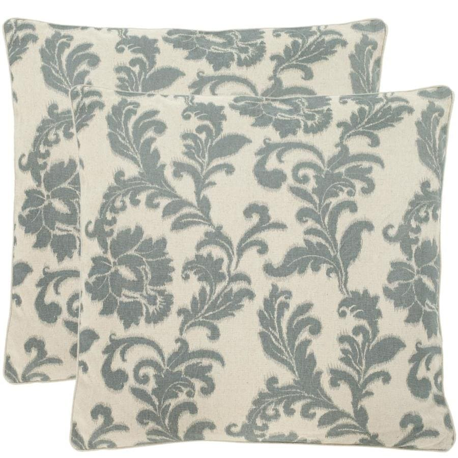 Safavieh Aubrey 2-Piece 22-in W x 22-in L Steel/Blue Indoor Decorative Pillow