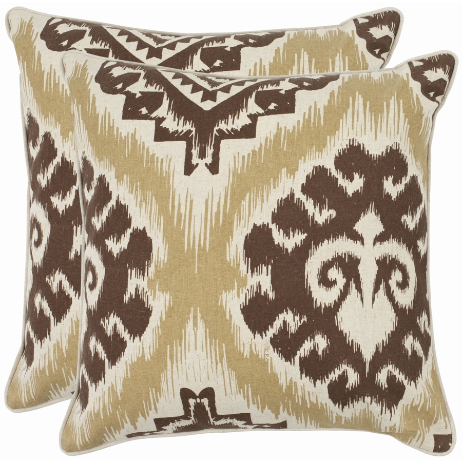 Safavieh Lucy 2-Piece 22-in W x 22-in L Almond Square Indoor Decorative Pillow