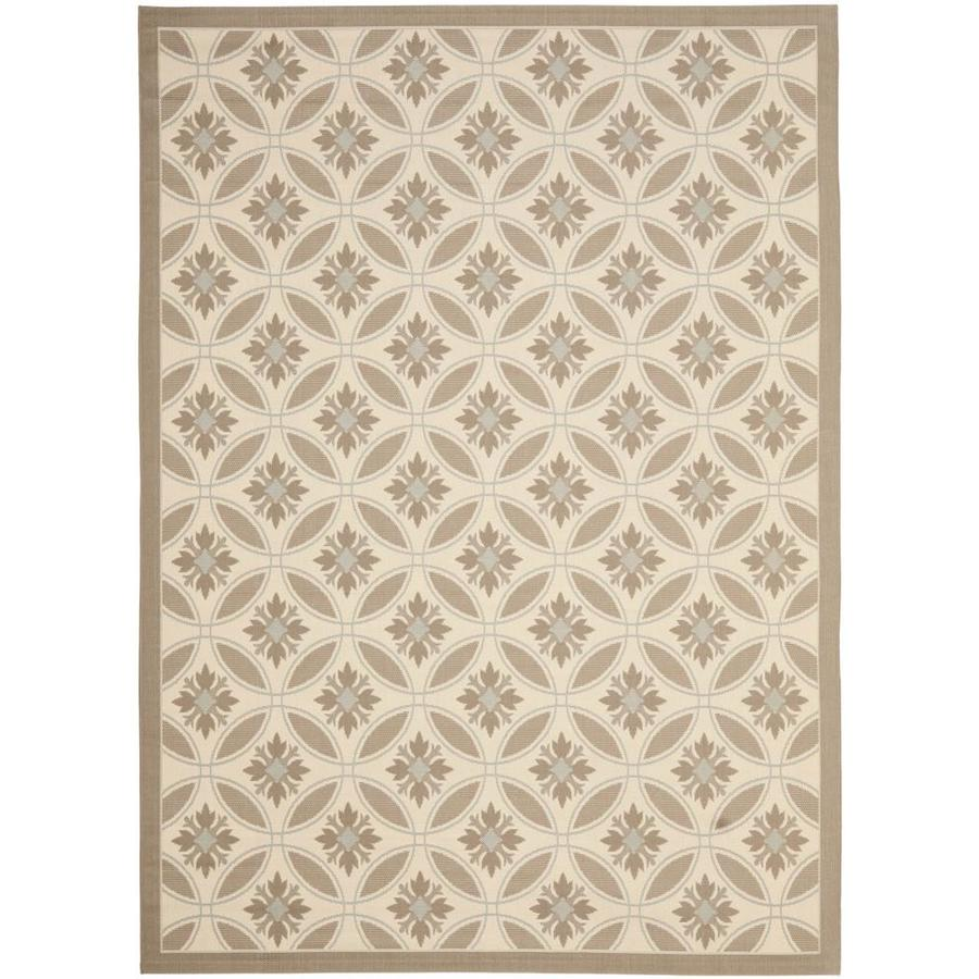 Safavieh Courtyard Beige and Dark Beig Rectangular Indoor and Outdoor Machine-Made Area Rug (Common: 9 x 12; Actual: 108-in W x 144-in L x 0.58-ft Dia)