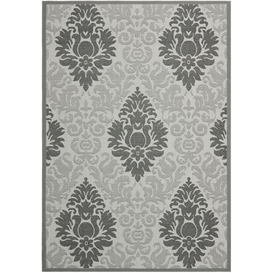 Safavieh Courtyard Lyford Light Gray/Anthracite Rectangular Indoor/Outdoor Machine-made Coastal Area Rug (Common: 4 x 5; Actual: 4-ft W x 5.58-ft L)
