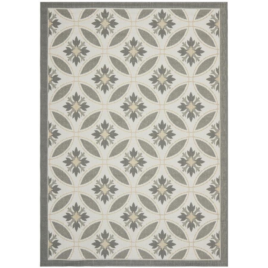 Safavieh Courtyard Madiera Light Gray/Anthracite Rectangular Indoor/Outdoor Machine-made Coastal Area Rug (Common: 5 x 7; Actual: 5.25-ft W x 7.58-ft L)