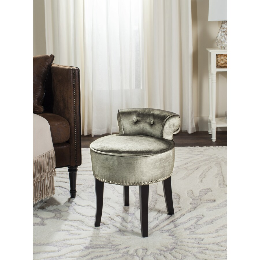 Shop Safavieh 22.8-in H Pewter Round Makeup Vanity Stool At Lowes.com
