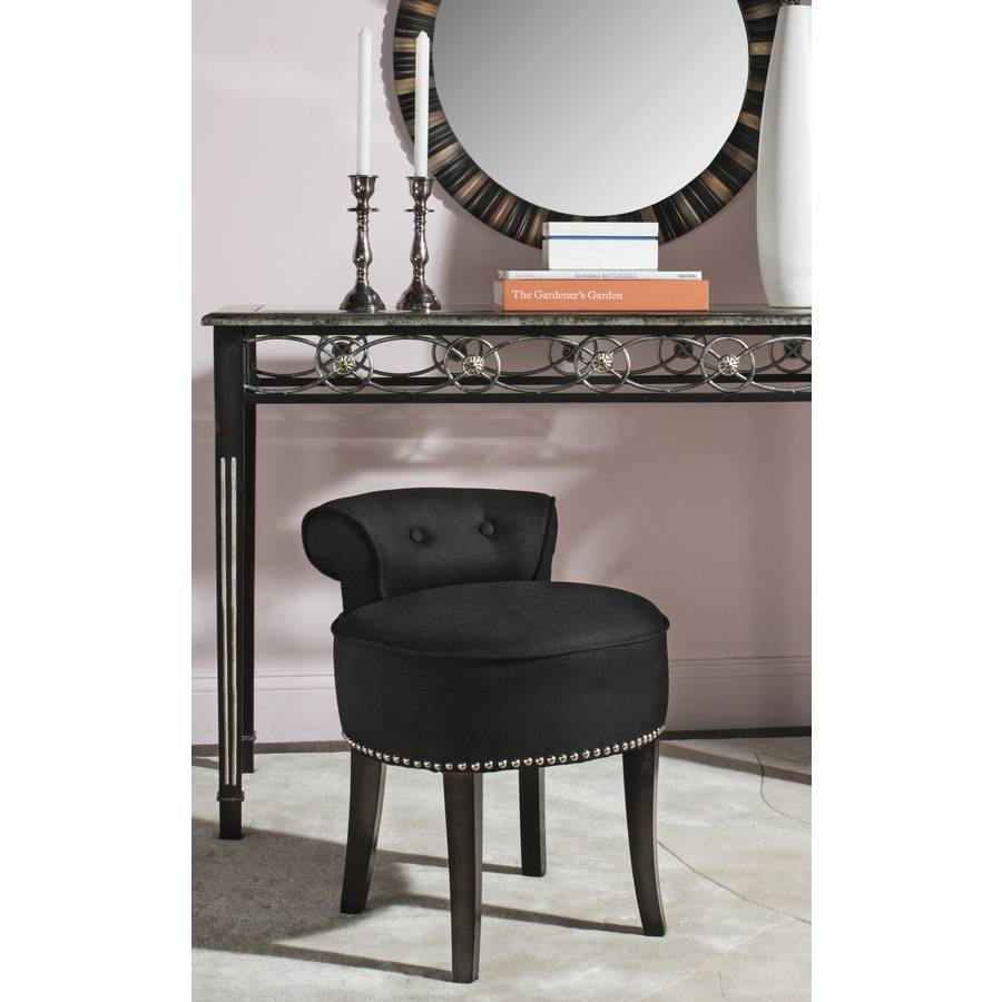 Shop Safavieh 22.8-in H Black Round Makeup Vanity Stool At Lowes.com