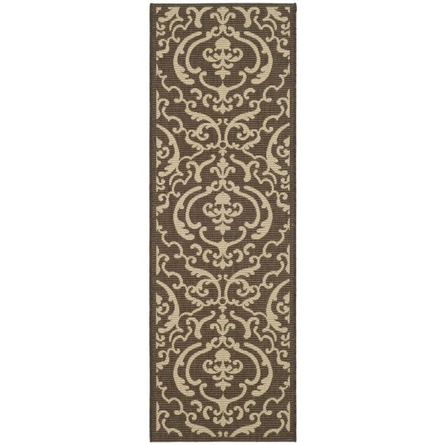 Safavieh Courtyard Damask Medallion Chocolate/Natural Rectangular Indoor/Outdoor Machine-made Coastal Runner (Common: 2 x 12; Actual: 2.25-ft W x 12-ft L)
