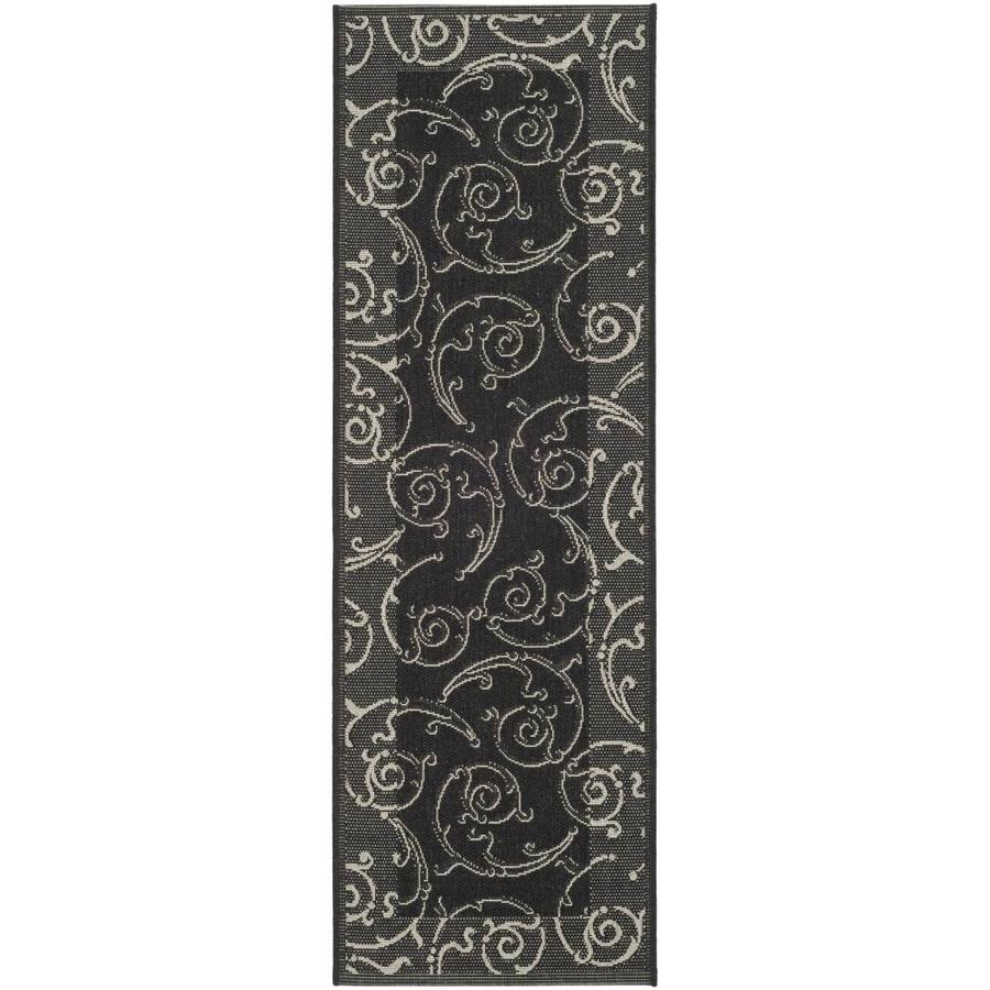 Safavieh Courtyard Sc-Roll Black/Sand Rectangular Indoor/Outdoor Machine-made Coastal Runner (Common: 2 x 14; Actual: 2.25-ft W x 14-ft L)