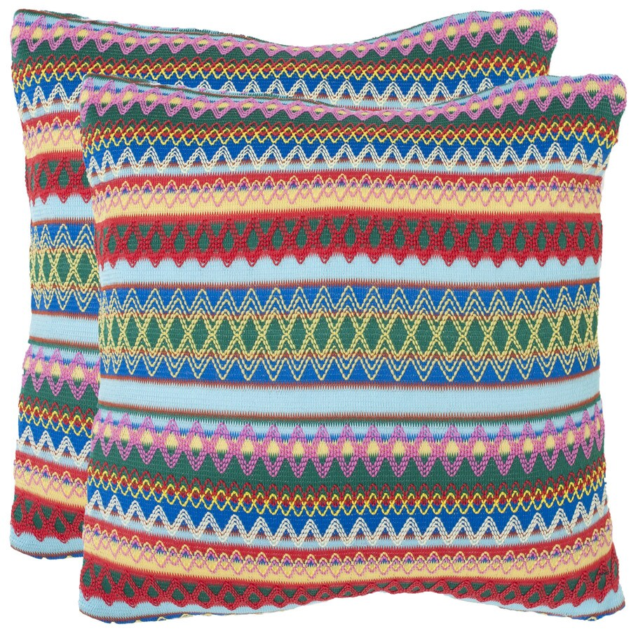 Safavieh Mirabelle 2-Piece 18-in W x 18-in L Blue Square Indoor Decorative Pillow
