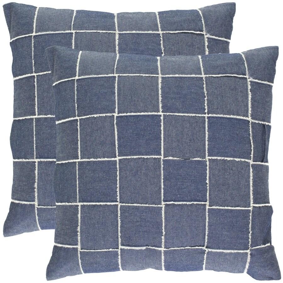 Safavieh Levi 2-Piece 18-in W x 18-in L Blue Square Indoor Decorative Pillow