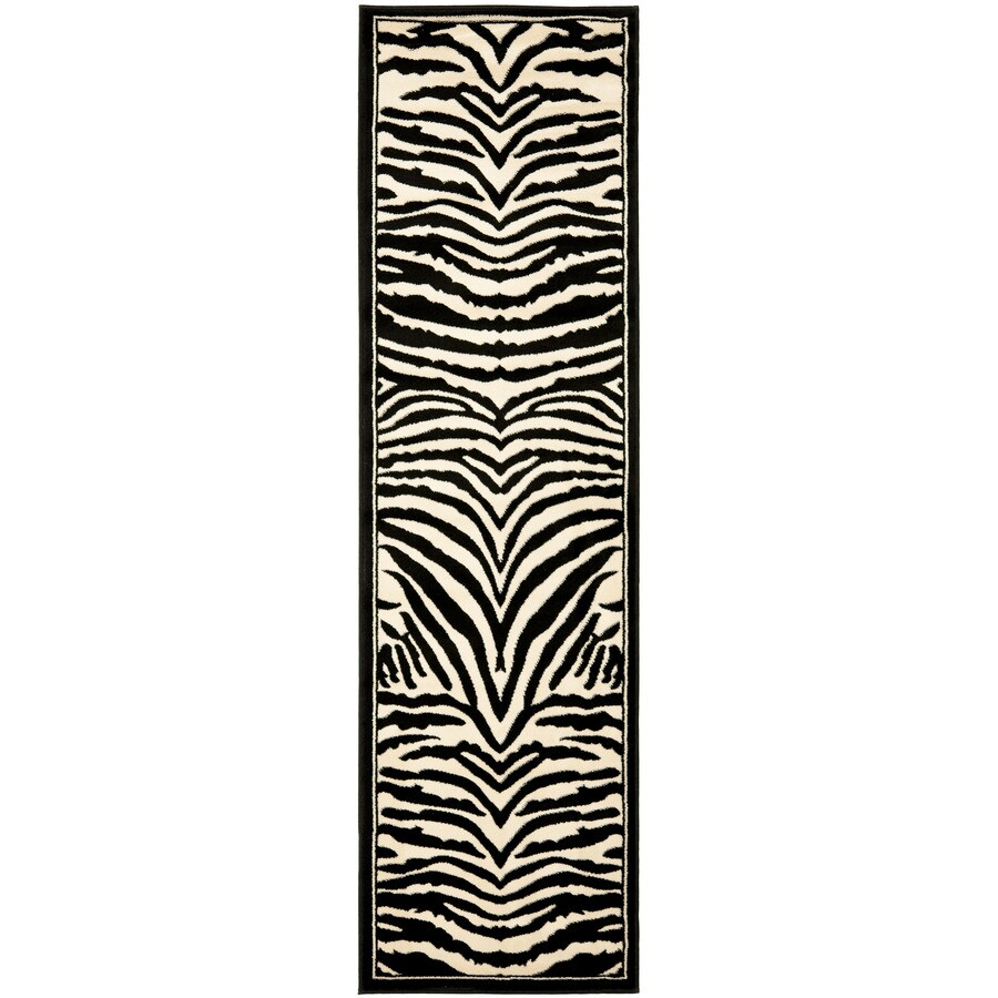 Safavieh Lyndhurst Zebra White/Black Indoor Animals Runner (Common: 2 x 10; Actual: 2.25-ft W x 10-ft L)