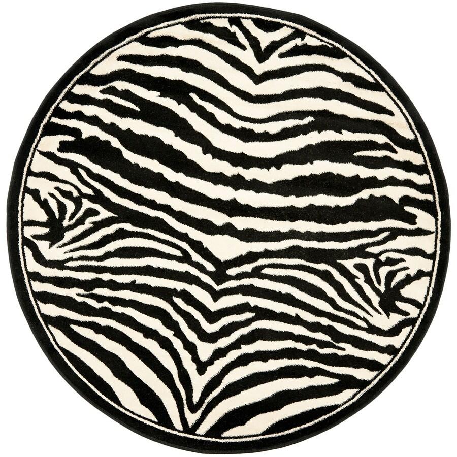 Safavieh Lyndhurst Zebra White/Black Round Indoor Machine-made Animals Area Rug (Common: 4 x 4; Actual: 4-ft W x 4-ft L x 4-ft dia)