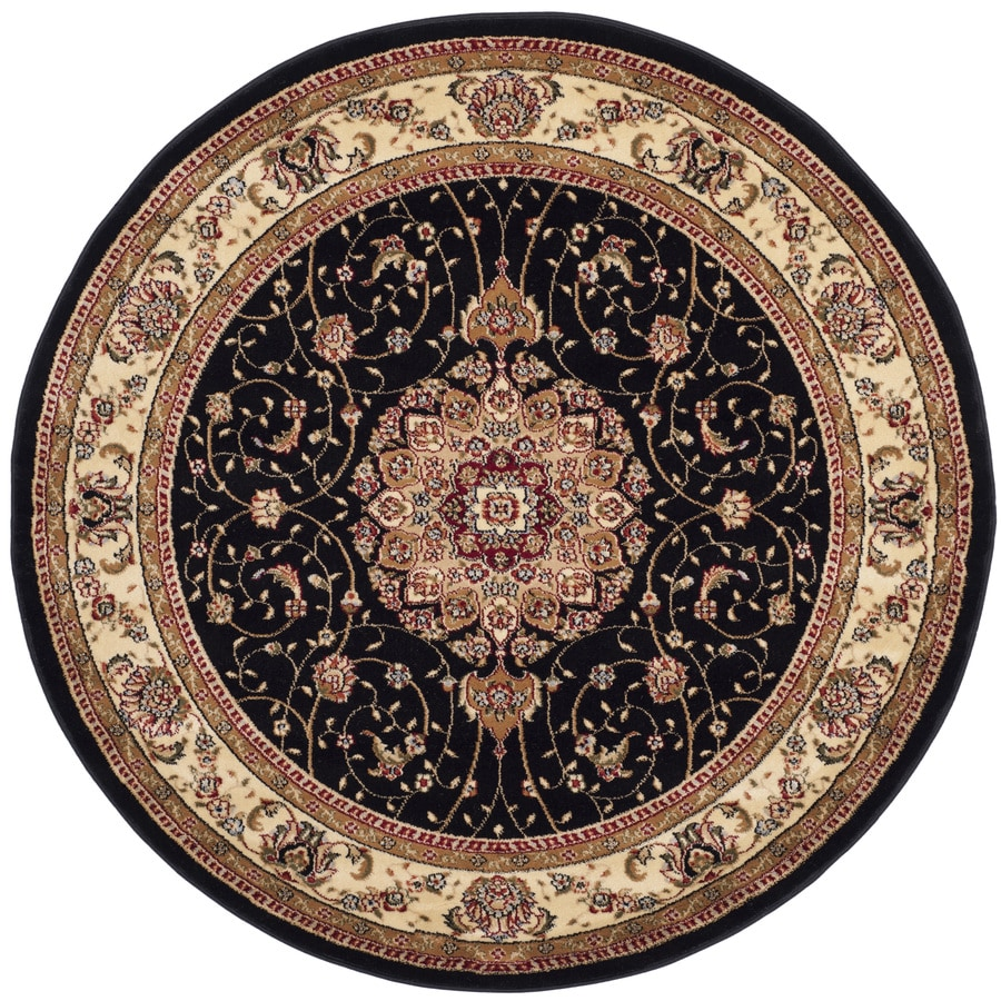 Safavieh Lyndhurst Kerman Black/Ivory Round Indoor Oriental Area Rug (Common: 4 x 4; Actual: 4-ft W x 4-ft L x 4-ft dia)