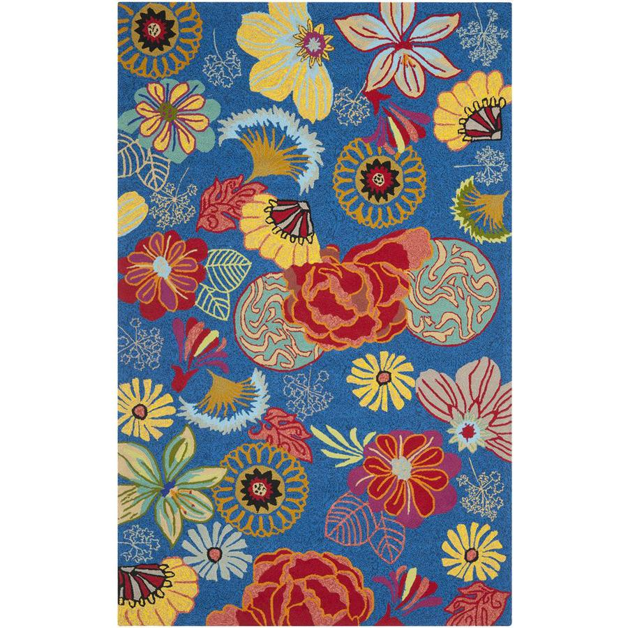 Safavieh Four Seasons Rectangular Blue Floral Indoor/Outdoor Woven Area Rug (Common: 5-ft x 8-ft; Actual: 5-ft x 8-ft)