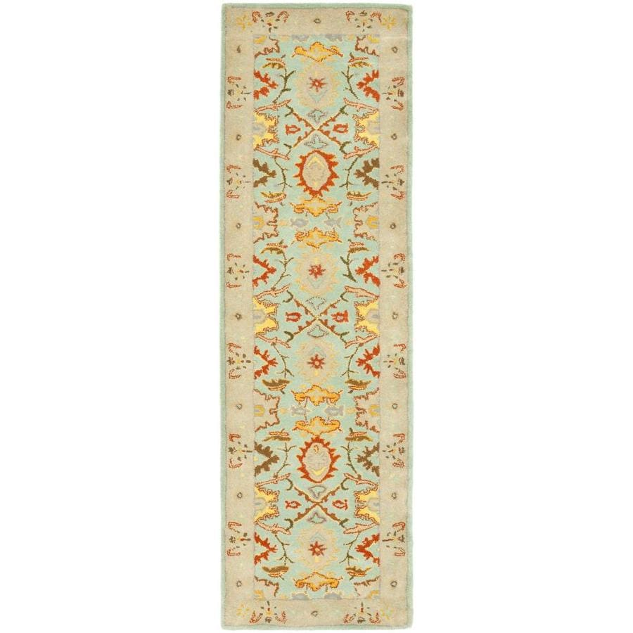 Safavieh Heritage Peshwar Light Blue/Ivory Indoor Handcrafted Oriental Runner (Common: 2 x 18; Actual: 2.25-ft W x 18-ft L)