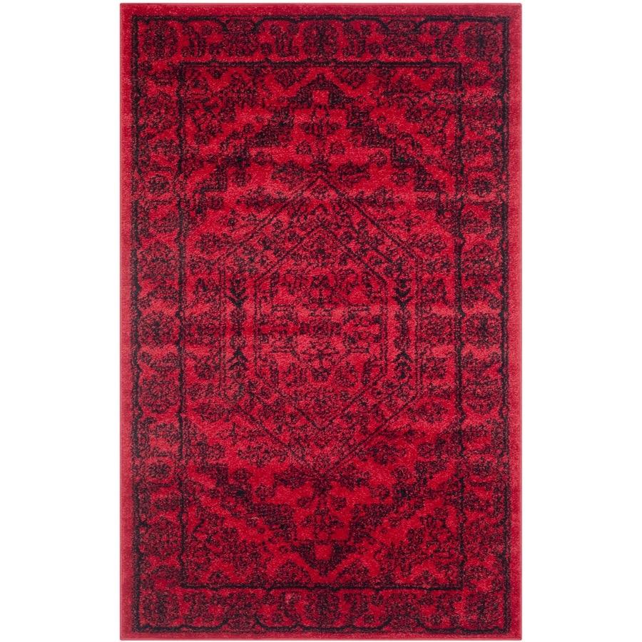 Safavieh Adirondack Red/Black Rectangular Indoor Machine-Made Lodge Throw Rug (Common: 3 x 5; Actual: 3-ft W x 5-ft L)
