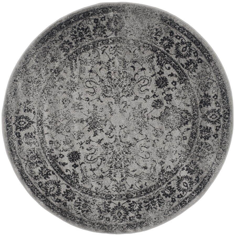 Safavieh Adirondack Kashan Gray/Black Round Indoor Machine-made Lodge Area Rug (Common: 6 x 6; Actual: 6-ft W x 6-ft L x 6-ft Dia)