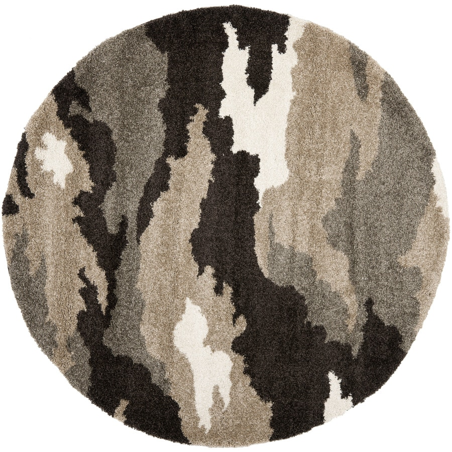Safavieh Camouflage Shag Beige/Multi Round Indoor Machine-Made Lodge Area Rug (Common: 3.6 x 3.6; Actual: 4-ft W x 4-ft L x 4-ft Dia)