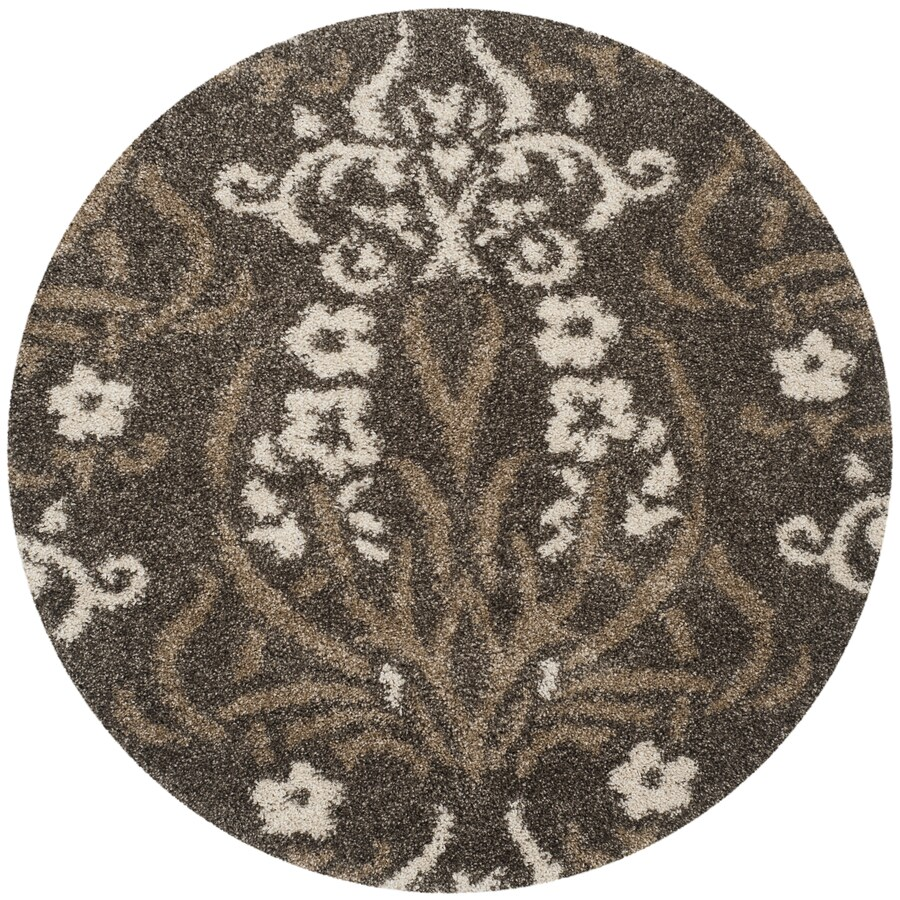 Safavieh Florida Shag Smoke/Beige Round Indoor Machine-Made Tropical Area Rug (Common: 4 x 4; Actual: 4-ft W x 4-ft L x 4-ft Dia)