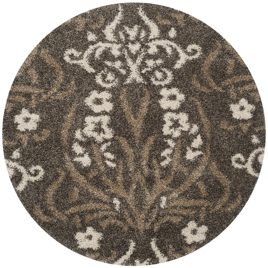 Safavieh Roxy Shag Smoke/Beige Round Indoor Machine-made Tropical Area Rug (Common: 4 x 4; Actual: 4-ft W x 4-ft L x 4-ft Dia)