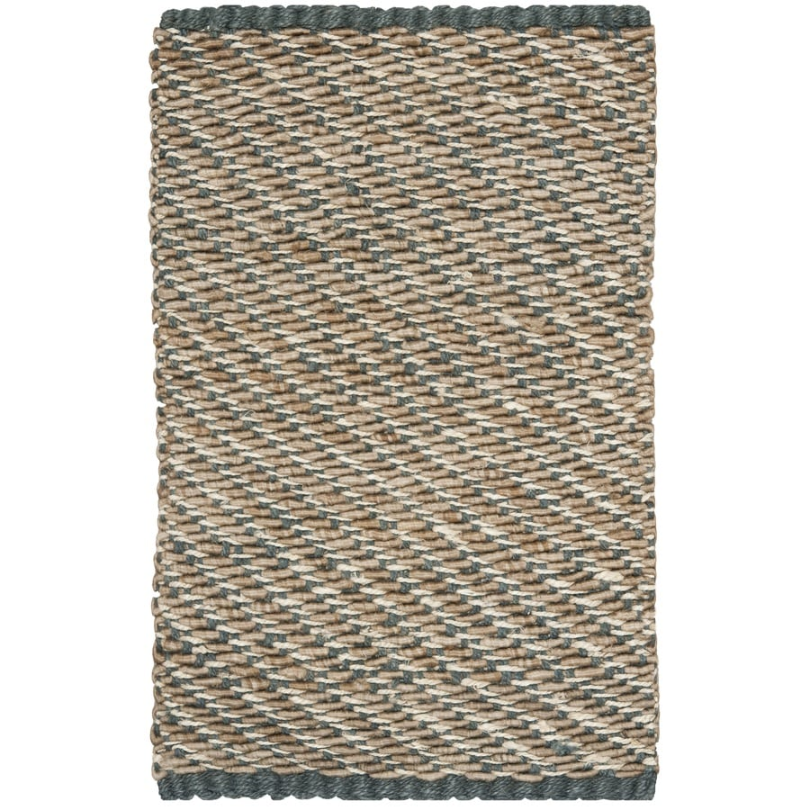 Safavieh Natural Fiber Munsey Blue/Natural Indoor Handcrafted Coastal Throw Rug (Common: 3 x 5; Actual: 3-ft W x 5-ft L)