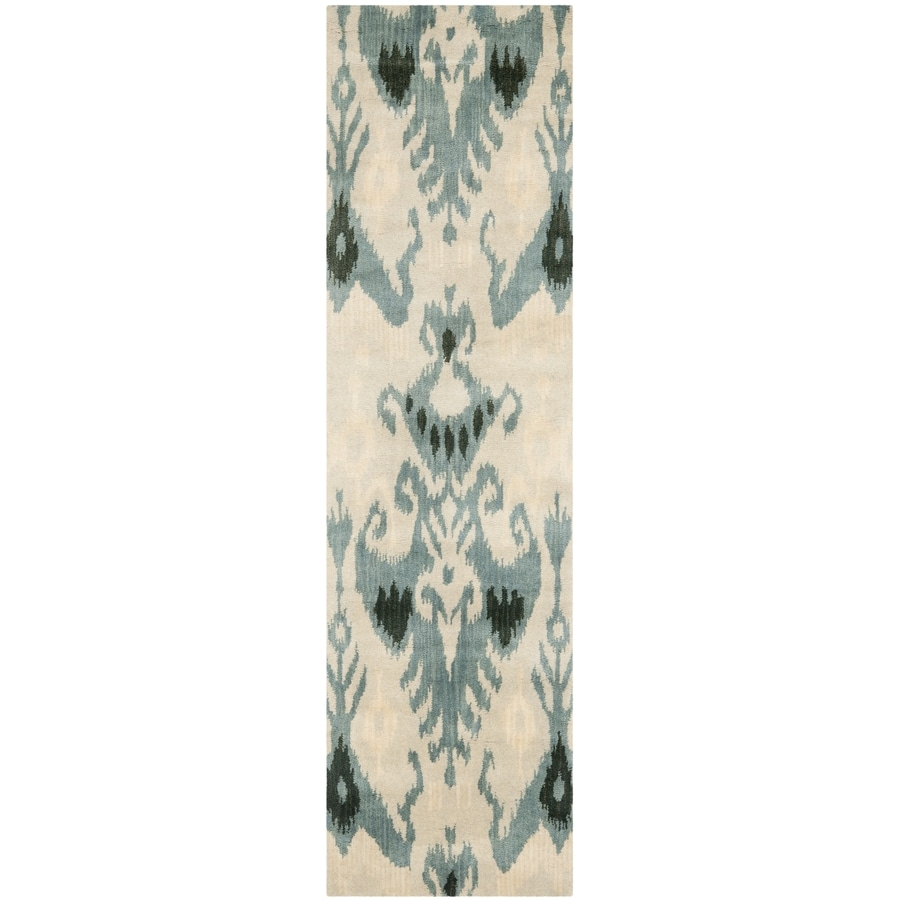 Safavieh Ikat Beige/Slate Rectangular Indoor Handcrafted Southwestern Runner (Common: 2 X 8; Actual: 2.25-ft W x 8-ft L)