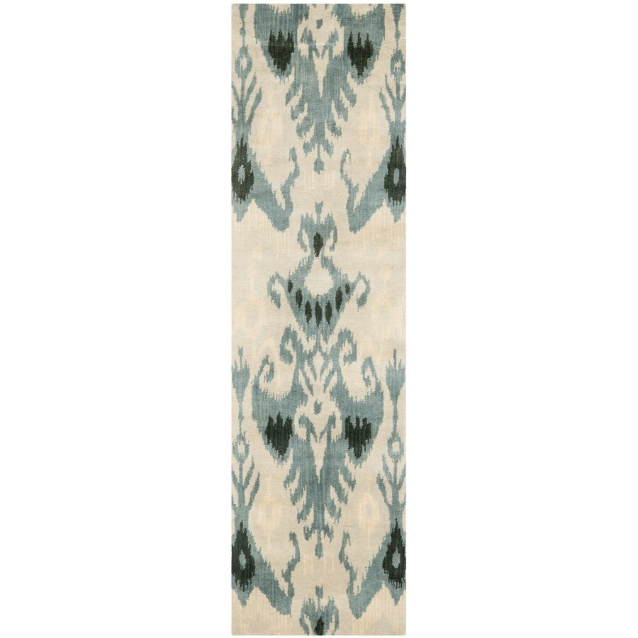 Safavieh Ikat Beige and Slate Rectangular Indoor Tufted Runner (Common: 2 x 8; Actual: 27-in W x 96-in L x 0.58-ft Dia)