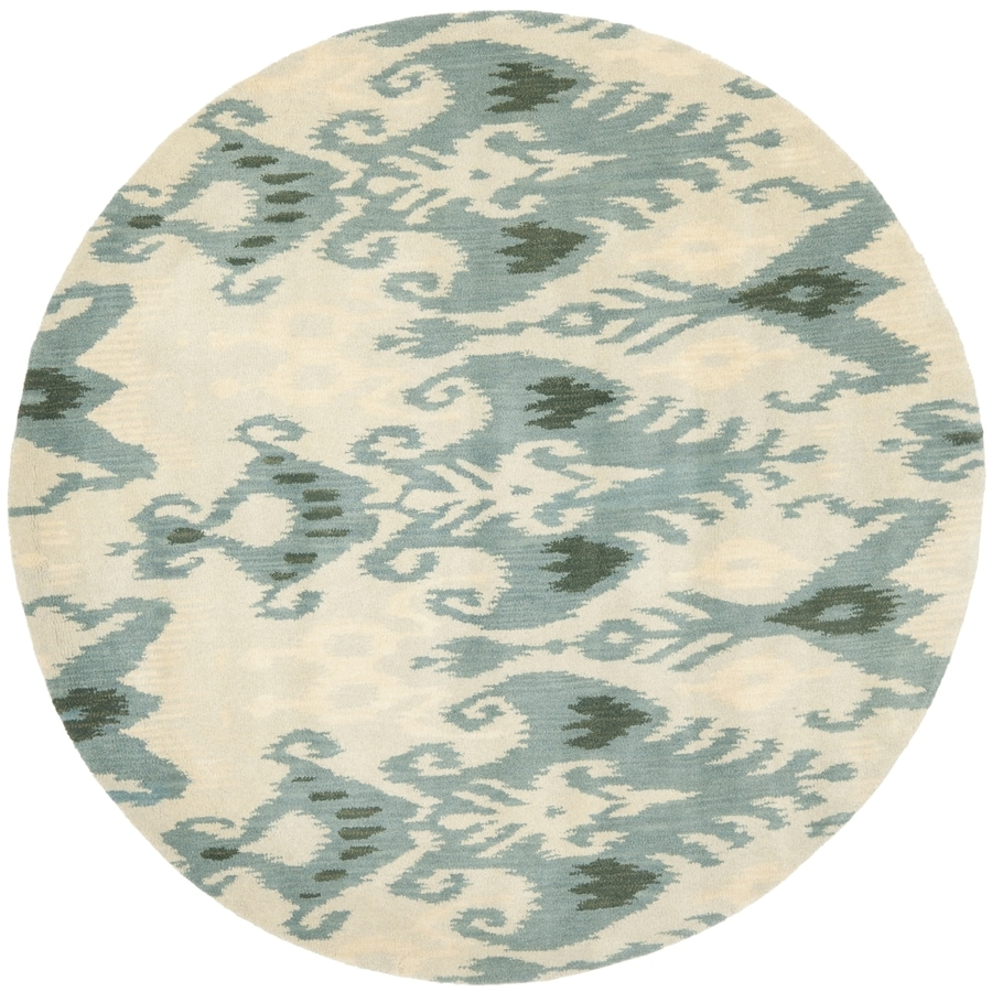 Safavieh Ikat Beige/Slate Round Indoor Handcrafted Southwestern Area Rug (Common: 6 x 6; Actual: 6-ft W x 6-ft L x 6-ft dia)