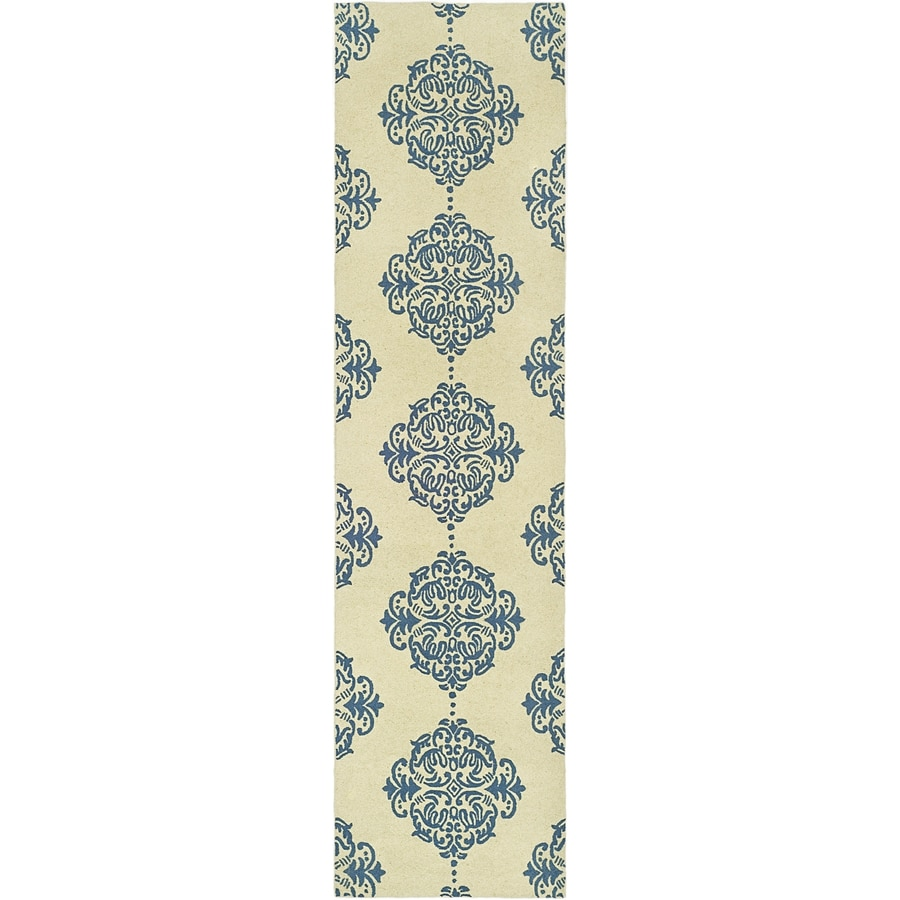 Safavieh Chelsea Damask Ivory And Blue Indoor Handcrafted Lodge Runner (Common: 2 x 14; Actual: 2.5-ft W x 14-ft L)