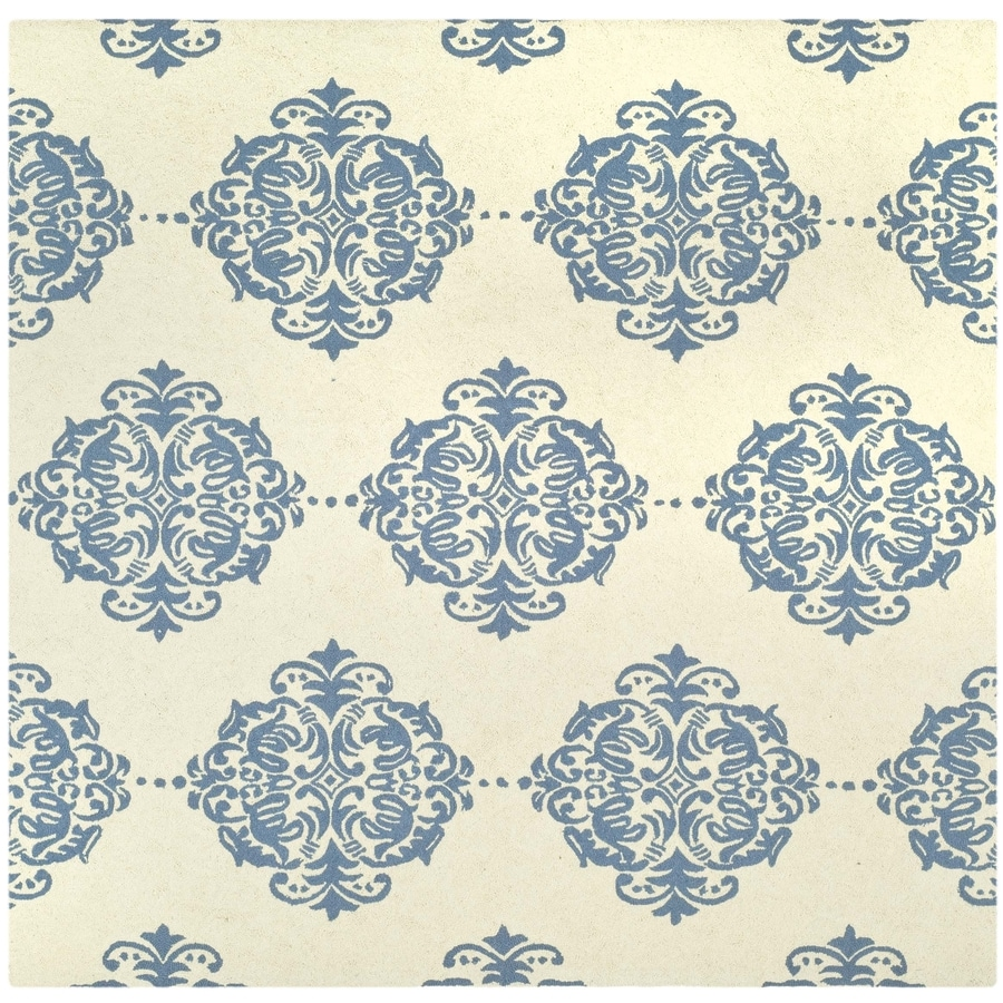 Safavieh Chelsea Damask Ivory/Blue Square Indoor Handcrafted Lodge Area Rug (Common: 6 X 6; Actual: 6-ft W x 6-ft L)
