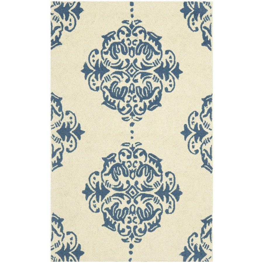 Safavieh Chelsea Damask Ivory and Blue Rectangular Indoor Handcrafted Lodge Throw Rug (Common: 3 x 5; Actual: 2.75-ft W x 4.75-ft L)