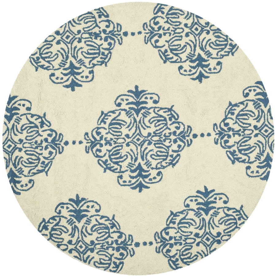 Safavieh Chelsea Damask Ivory/Blue Round Indoor Handcrafted Lodge Area Rug (Common: 4 x 4; Actual: 4-ft W x 4-ft L x 4-ft dia)