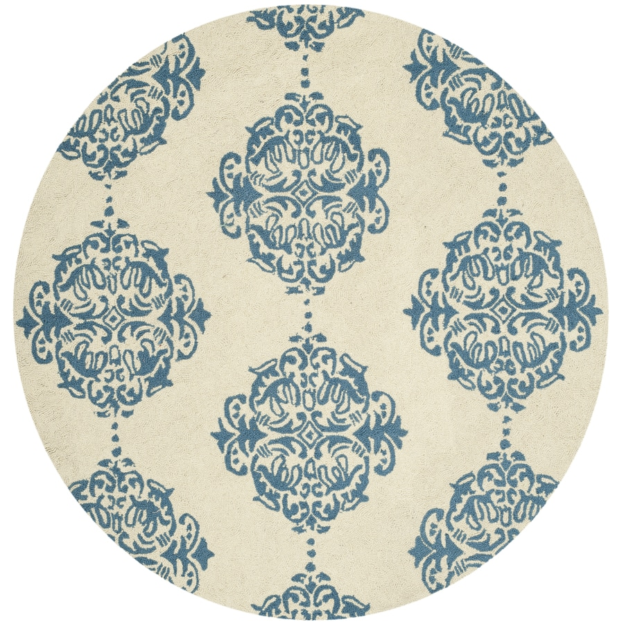 Safavieh Chelsea Damask Ivory/Blue Round Indoor Handcrafted Lodge Area Rug (Common: 5 x 5; Actual: 5-ft W x 5-ft L x 5-ft dia)