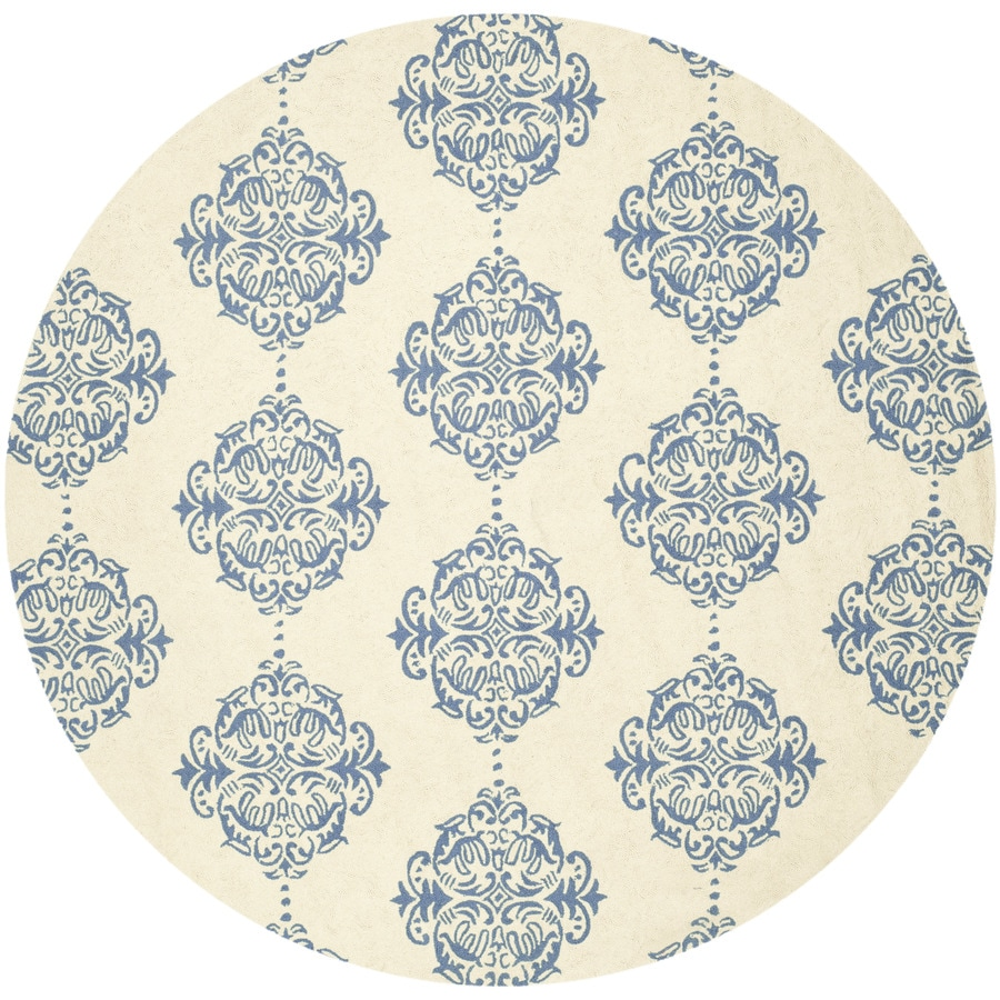 Safavieh Chelsea Damask Ivory/Blue Round Indoor Handcrafted Lodge Area Rug (Common: 8 x 8; Actual: 8-ft W x 8-ft L x 8-ft dia)