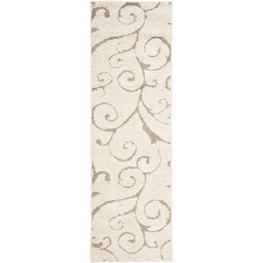Safavieh Florida Scroll Shag Cream/Beige Rectangular Indoor Machine-made Tropical Runner (Common: 2 x 12; Actual: 2.25-ft W x 13-ft L)