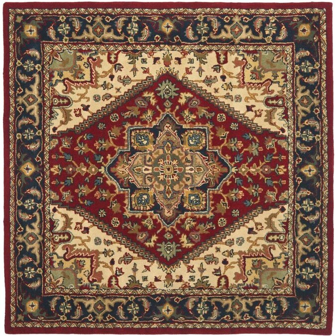 Safavieh Heritage Heriz 8 X 8 Red Square Indoor Floral Botanical Oriental Handcrafted Area Rug In The Rugs Department At Lowes Com