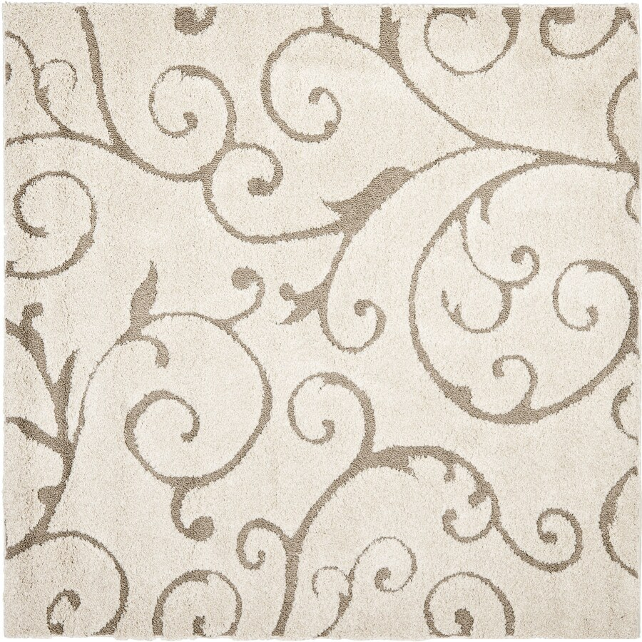 Safavieh Florida Scroll Shag Cream/Beige Square Indoor Machine-made Tropical Area Rug (Common: 5 x 5; Actual: 5-ft W x 5-ft L)