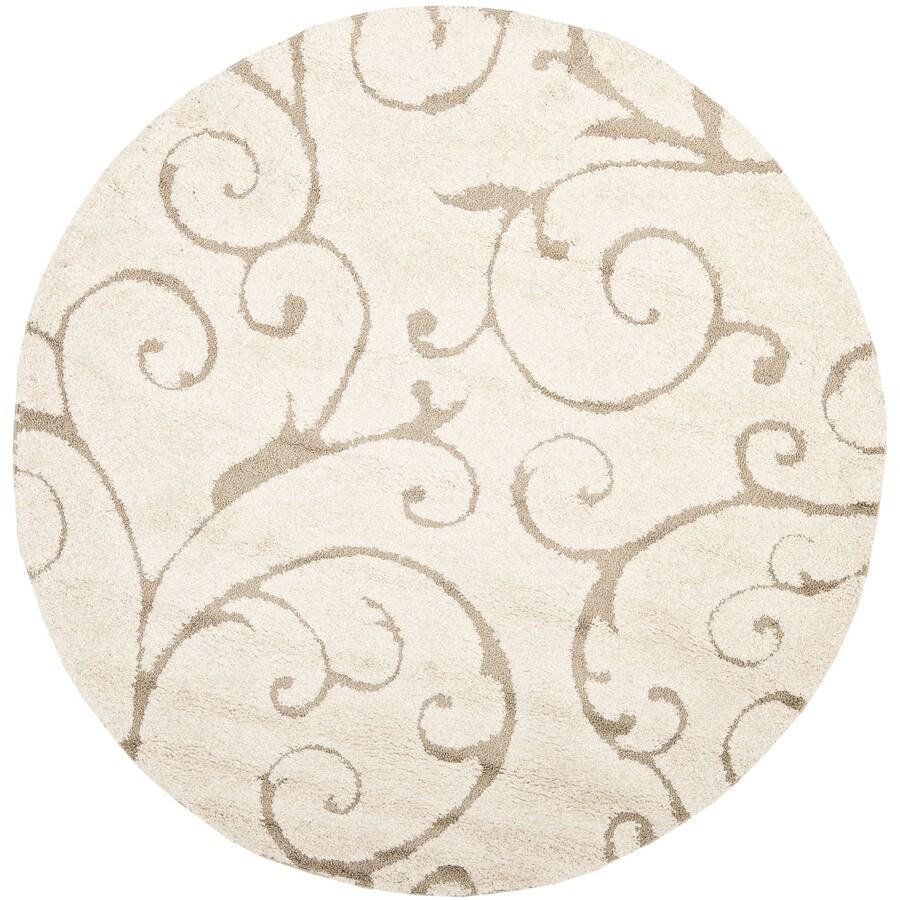 Safavieh Florida Scroll Shag Cream/Beige Round Indoor Machine-made Tropical Area Rug (Common: 5 x 5; Actual: 5-ft W x 5-ft L x 5-ft dia)