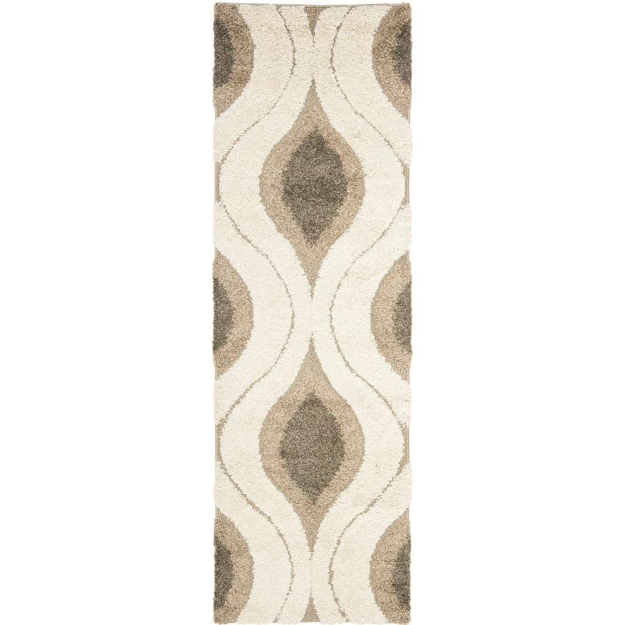 Safavieh Arcell Shag Cream/Smoke Rectangular Indoor Machine-made Tropical Runner (Common: 2 x 11; Actual: 2.25-ft W x 11-ft L)