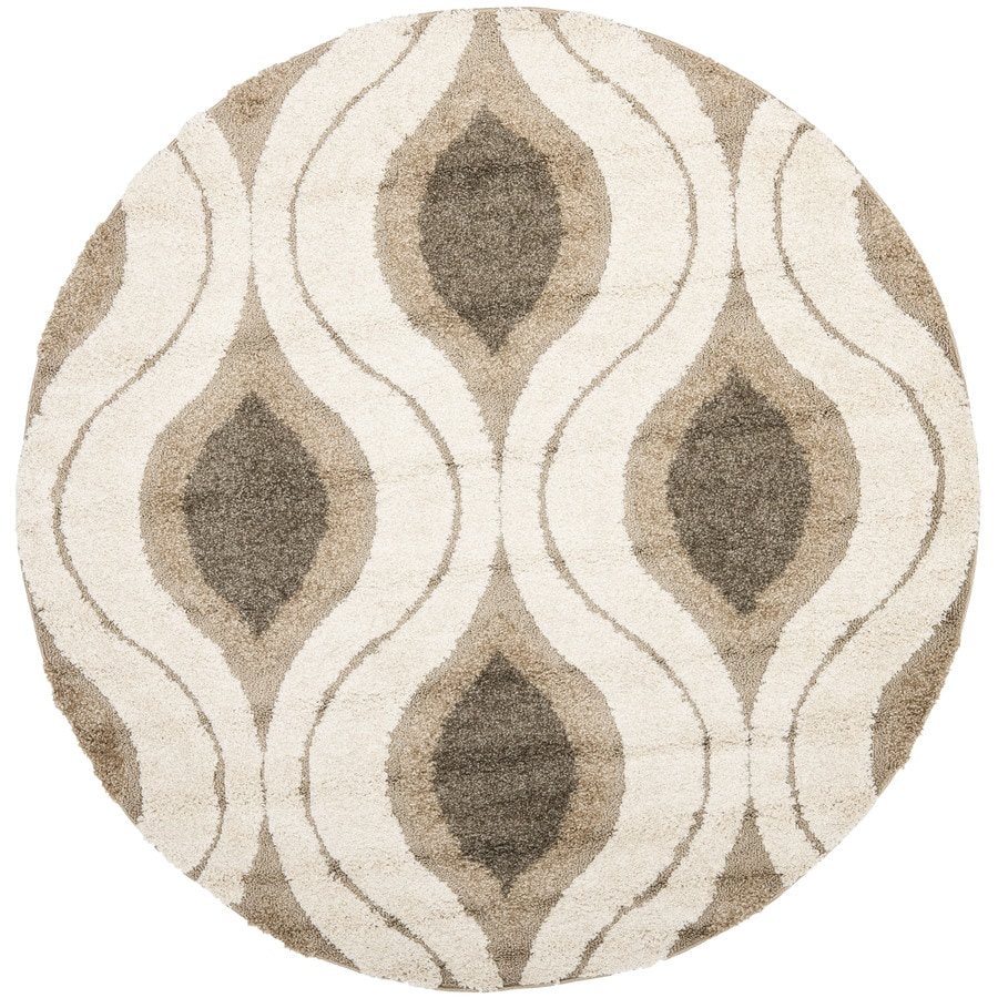 Safavieh Arcell Shag Cream/Smoke Round Indoor Machine-made Tropical Area Rug (Common: 5 x 5; Actual: 5-ft W x 5-ft L x 5-ft Dia)