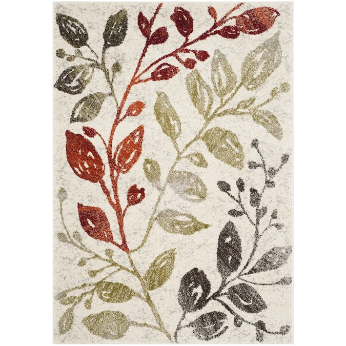Safavieh Porcello Jasmine Ivory Green Rectangular Indoor Machine Made Area Rug Common 4 X 6 Actual Ft W 5 L In The Rugs Department At Lowes Com