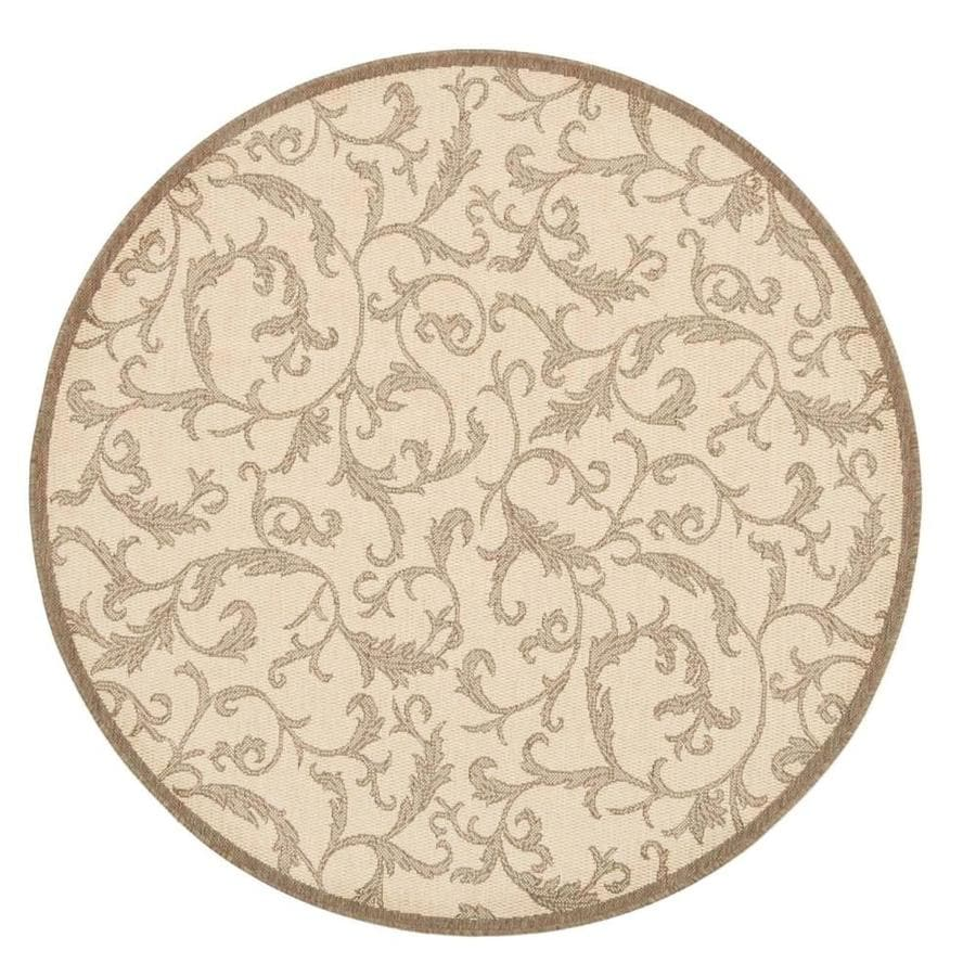 Safavieh Courtyard Vintage Vine Natural/Brown Round Indoor/Outdoor Machine-made Coastal Area Rug (Common: 5 x 7; Actual: 7.83-ft W x 7.58-ft L x 7.83-ft Dia)