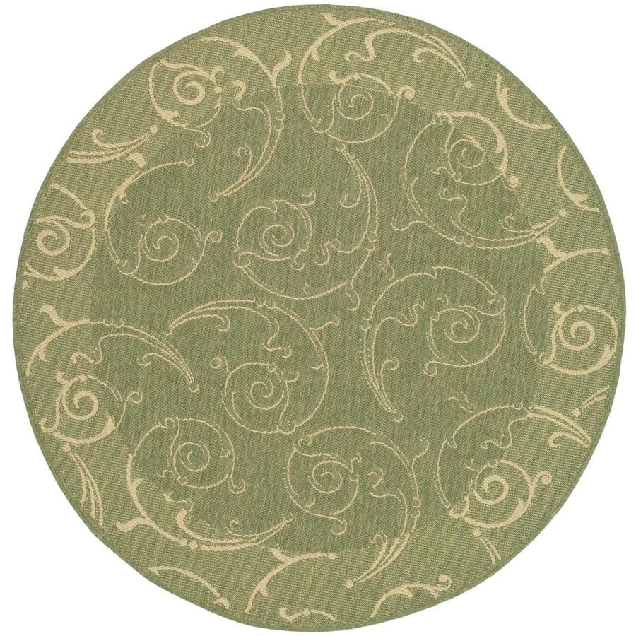 Safavieh Courtyard Sc-Roll Olive/Natural Round Indoor/Outdoor Machine-made Coastal Area Rug (Common: 7 x 7; Actual: 7.83-ft W x 7.58-ft L x 7.83-ft Dia)