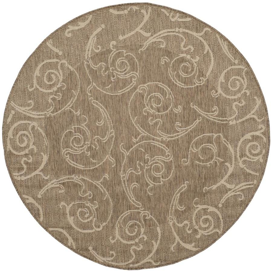 Safavieh Courtyard Sc-Roll Brown/Natural Round Indoor/Outdoor Machine-made Coastal Area Rug (Common: 5 x 7; Actual: 7.83-ft W x 7.58-ft L x 7.83-ft Dia)