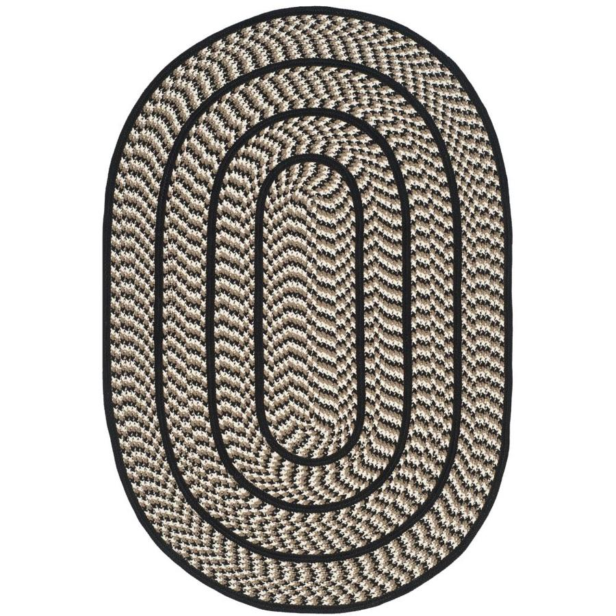 Safavieh Braided Ivory And Black Oval Indoor Area Rug Common 4 X 6