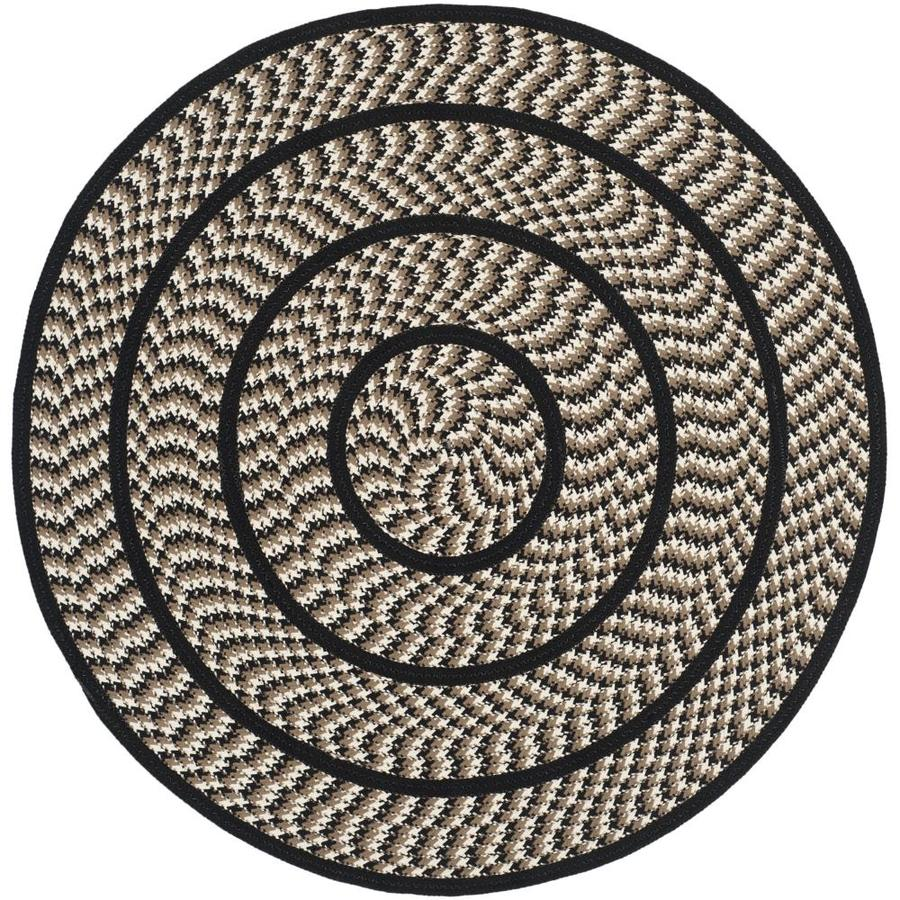 Safavieh Braided Ivory And Black Round Indoor Area Rug Common 4 X