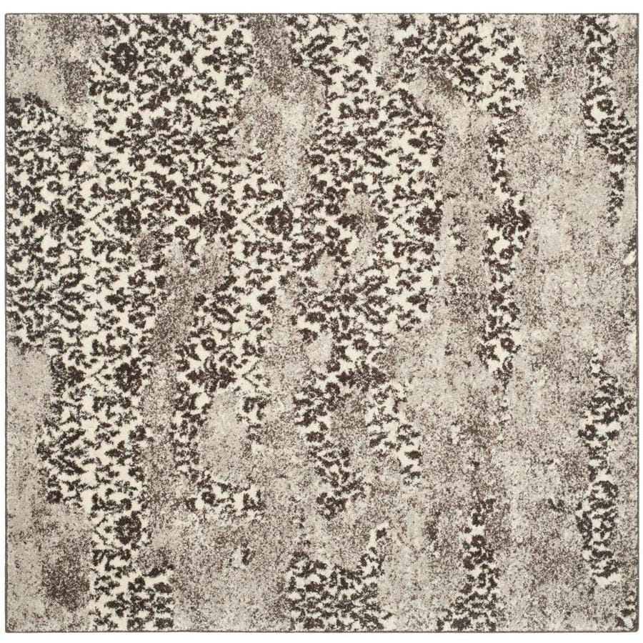 Safavieh Retro Delfia Beige/Light Gray Square Indoor Machine-made Distressed Area Rug (Common: 6 x 6; Actual: 6-ft W x 6-ft L)