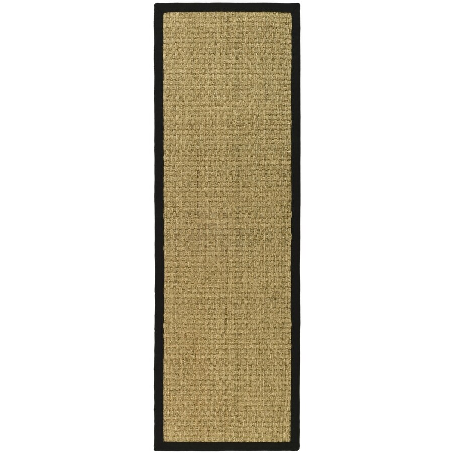 Safavieh Natural Fiber Hampton Natural/Black Indoor Coastal Runner (Common: 2 x 10; Actual: 2.5-ft W x 10-ft L)