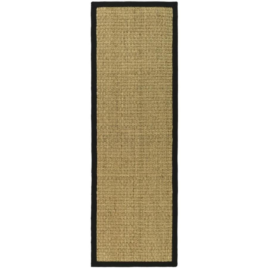 Safavieh Natural Fiber Hampton Natural/Black Rectangular Indoor Machine-made Coastal Runner (Common: 2 x 14; Actual: 2.5-ft W x 14-ft L)