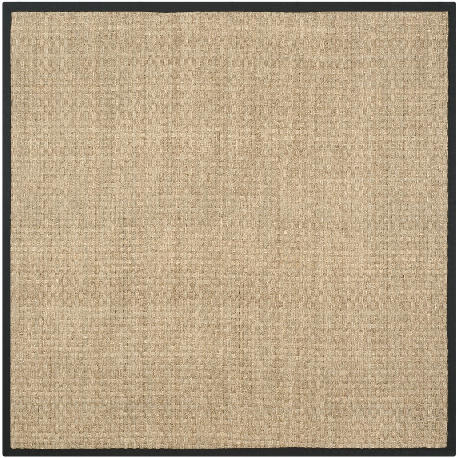 Safavieh Natural Fiber Hampton Natural/Black Square Indoor Coastal Area Rug (Common: 8 x 8; Actual: 8-ft W x 8-ft L)