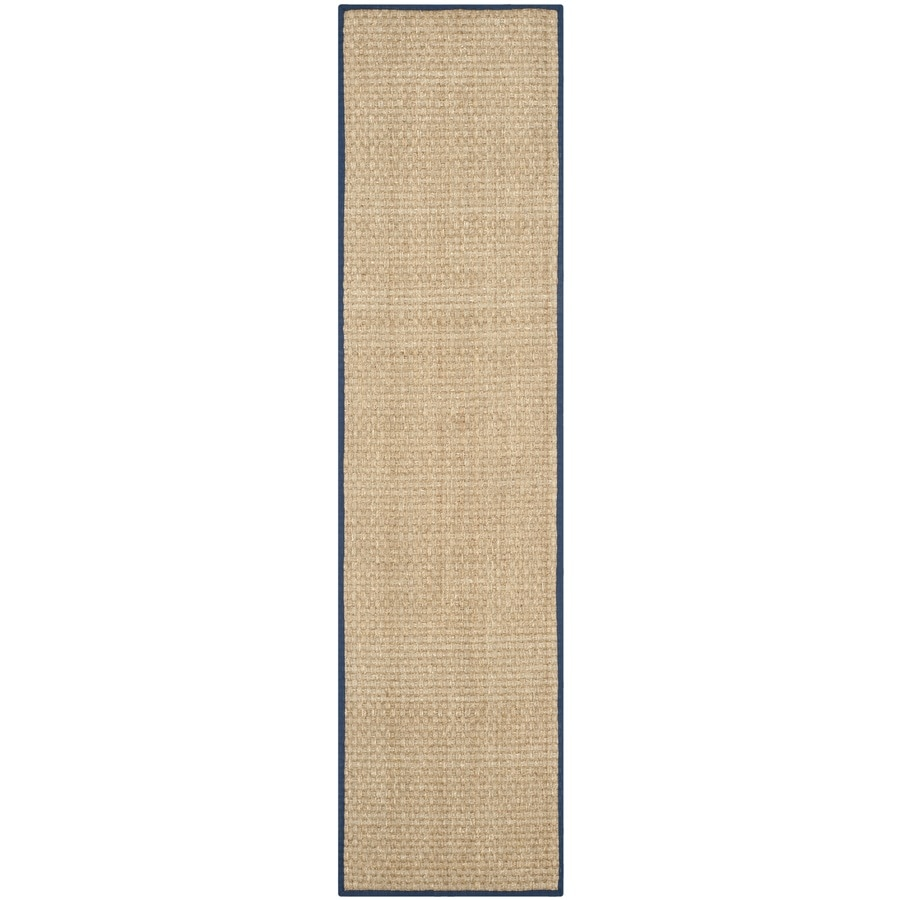 Safavieh Natural Fiber Hampton Natural/Blue Rectangular Indoor Machine-made Coastal Runner (Common: 2 x 10; Actual: 2.5-ft W x 10-ft L)