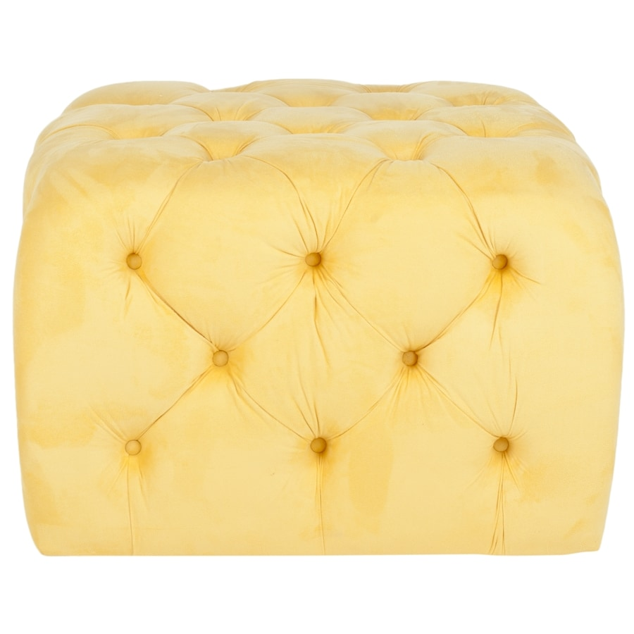 Safavieh Kenan Modern Sunflower Yellow Velvet Ottoman